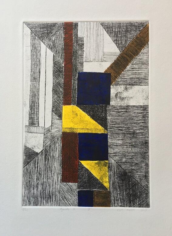 Atta Kwami: Agenda, 2017, etching, 60 x 35.5 cm.