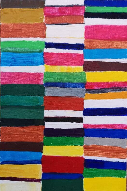 Atta Kwami: Christopher Saamba Speedy, Olie på lærred, 30 x 20 cm