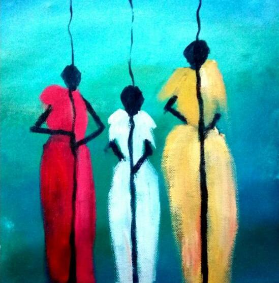 Family and Culture, 2019, akryl på lærred, 26 x 25 cm