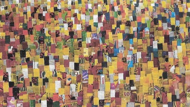 Royal Feast, 2019, ca, plastic risposer på kanvas, 60 x 110 cm