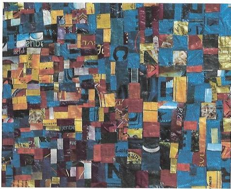 Anita Cudjoe, Ahonze (Strength), 2018, plastic rice bags on canvas