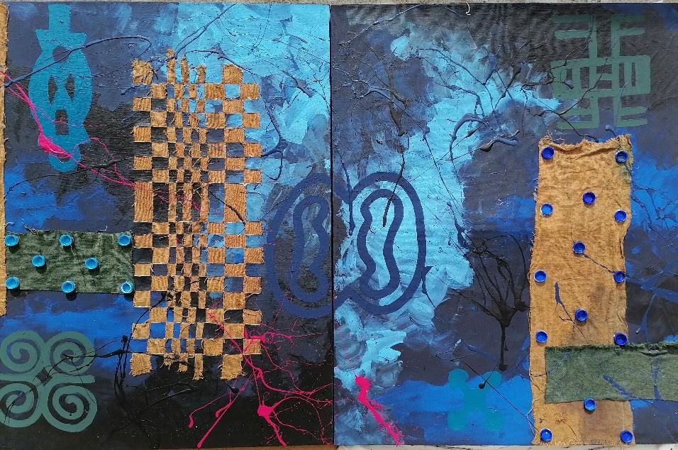 Osei Moses Seth, Somu Yie (Keep it firmly or tightly), 2020, acrylic, jute bag, thread, and bottle capsules on canvas.